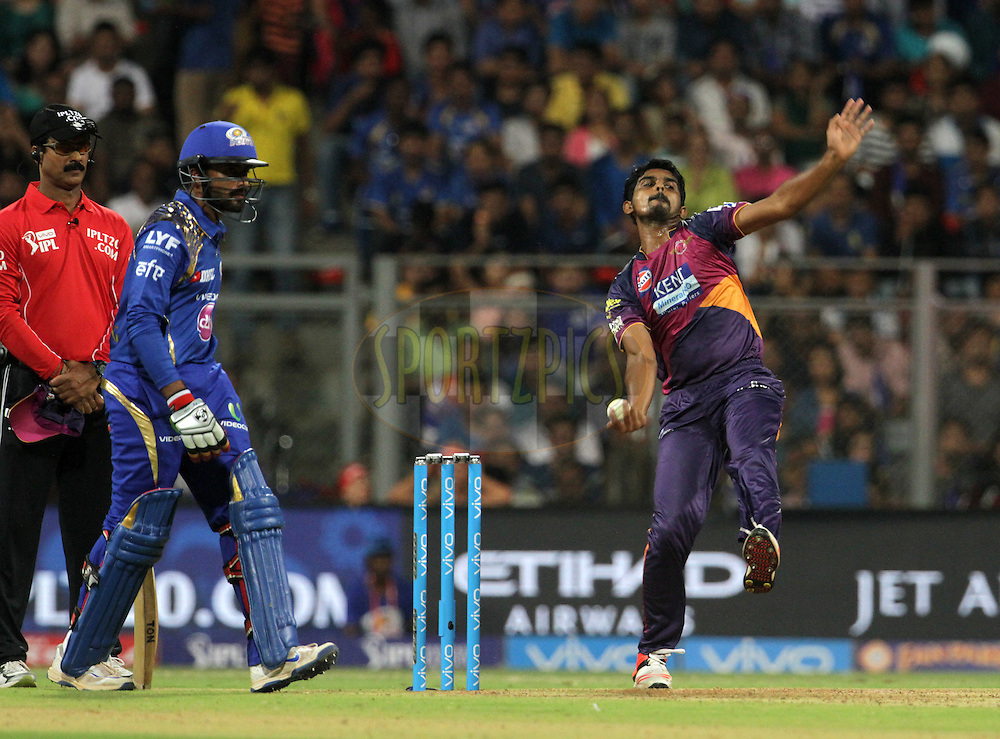 Rising Pune Supergiants player M Ashwin bowls during match 1 of the Vivo Indian Premier League ( IPL ) 2016 between the Mumbai Indians and the Rising Pune Supergiants held at the Wankhede Stadium in Mumbai on the 9th April 2016<br /> <br /> Photo by Vipin Pawar/ IPL/ SPORTZPICS