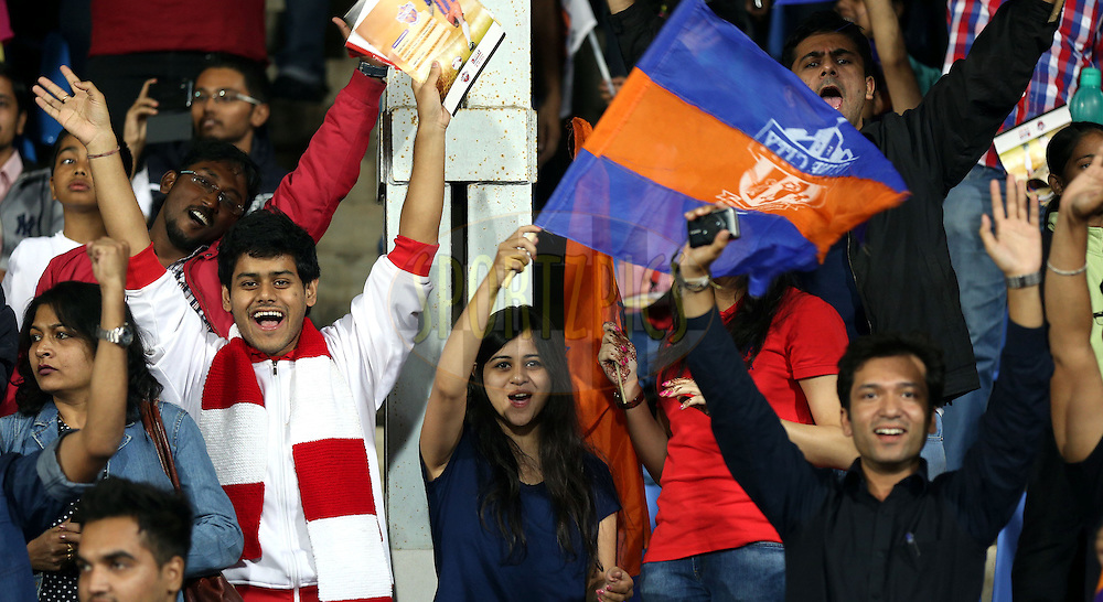 Fan's enjoy's during match 44 of the Hero Indian Super League between FC Pune City and Atletico de Kolkata FC held at the Shree Shiv Chhatrapati Sports Complex Stadium, Pune, India on the 29th November 2014.<br /> <br /> Photo by:  Sandeep Shetty/ ISL/ SPORTZPICS