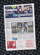 British newspaper The Guardian front page on the day after the EU Referendum, London, UK - 24 Jun 2016