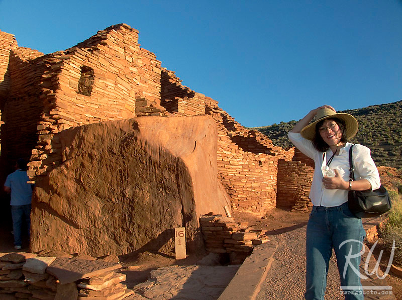 Female Tourist at Wupatki Pueblo, Wupatki National Monument, Arizona