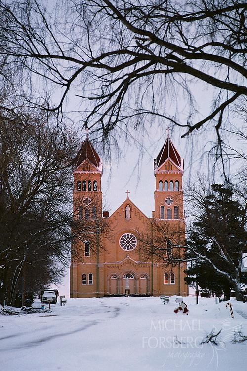 Church and Christmas displays. Northeast Nebraska.