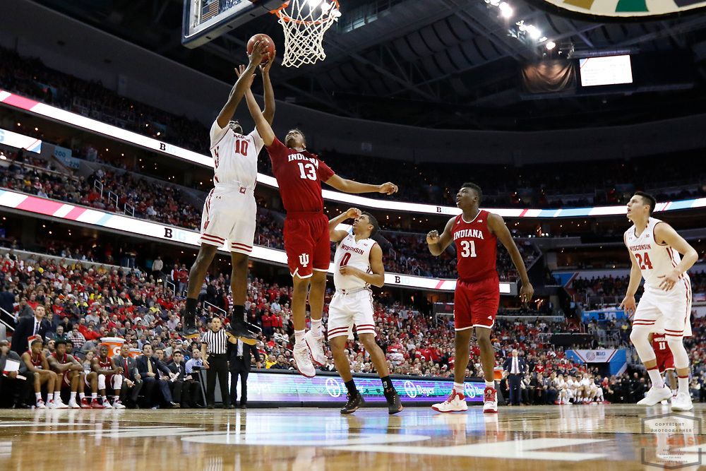 Indiana forward Juwan Morgan (13) in action as Indiana played Wisconsin in an NCCA college basketball game in the third round of the Big 10 tournament in Washington, D.C., Friday, March 10, 2017. (AJ Mast)
