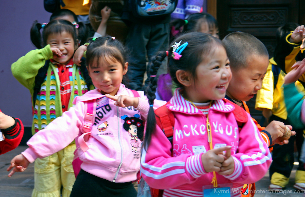 Asia, China, Yunnan, Kunming. Preschool age children visit a local Temple in Kunming.