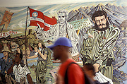 Wall painting in the university of Pinar del Rio, Cuba, depicting history of Cuban revolution with characrets of Fidel Castro and Jose Marti.
