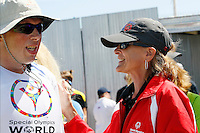 1 August 2015: Special Olympic World Games Los Angeles Sailing Finals in Long Beach, California. Team USA head coach Meta Frasch speaks with sailor Robert Lord after his final race on Sunday in Long Beach, CA.