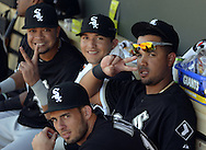 MESA, AZ - MARCH 08:  Jose Abreu #79 of the Chicago White Sox looks on during the spring training game between the Oakland Athletics and Chicago White Sox on March 8, 2015 at Hohokam Stadium in Mesa, Arizona. (Photo by Ron Vesely)   Subject:  Jose Abreu