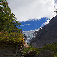 Europe, Norway, Olden. Briksdal Glacier.