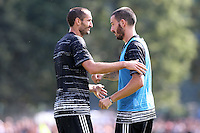 17.08.2016 - Villar Perosa - Vernissage -  Juventus A - Juventus B  nella  foto: Leonardo Bonucci e Giorgio Chiellini - Juventus