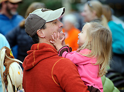 Danny Maestas shares a fun moment with his daughter Summer, 2, at the PTA Pumpkin Sale on Saturday.