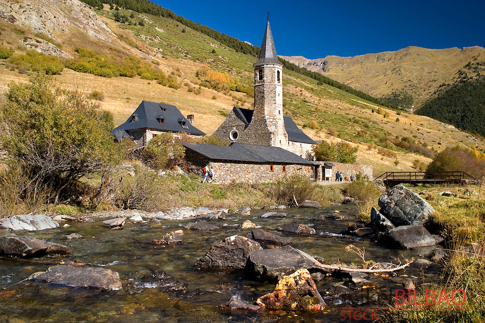 Montgarri Sanctuary and Noguera Pallaresa river.<br /> Aran Valley. Pyrenees mountain range. Lerida province.  Catalonia, Spain, Europe.