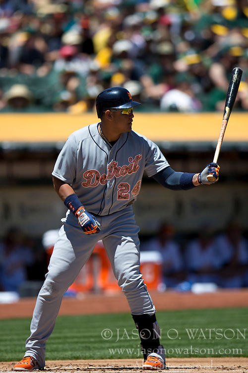 OAKLAND, CA - MAY 26:  Miguel Cabrera #24 of the Detroit Tigers at bat against the Oakland Athletics during the first inning at O.co Coliseum on May 26, 2014 in Oakland, California. The Oakland Athletics defeated the Detroit Tigers 10-0.  (Photo by Jason O. Watson/Getty Images) *** Local Caption *** Miguel Cabrera