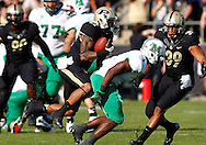 WEST LAFAYETTE, IN - SEPTEMBER 29: Evan Feichter #27 of the Purdue Boilermakers makes an interception against the Marshall Thundering Herd at Ross-Ade Stadium on September 29, 2012 in West Lafayette, Indiana. (Photo by Michael Hickey/Getty Images) *** Local Caption *** Evan Feichter