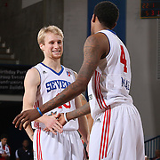 Delaware 87ers Guard JORDAN MCRAE (4) and Delaware 87ers Guard TY GREENE (15) celebrates in the final seconds of the second half of a NBA D-league regular season win over the Canton Charge Tuesday, JAN, 26, 2016 at The Bob Carpenter Sports Convocation Center in Newark, DEL.<br /> <br /> Delaware 87ers guard Jordan McRae broke the NBA minor league&rsquo;s single-game scoring record going 21-34 finishing with 61 points in a 130-123 overtime win over the Canton Charge.