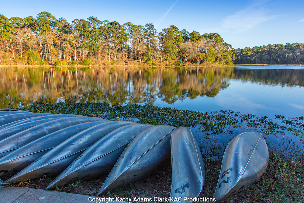 Canoes, Huntsville State Park, in autumn, north of Houston, texas and south of Huntsville, texas.