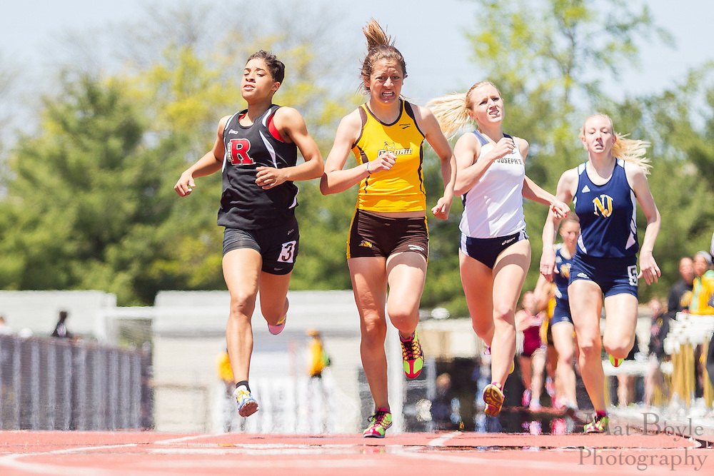 Rowan University's Vanessa Valdes competes in the women's 800 meter at the NJAC Track and Field Championships at Richard Wacker Stadium on the campus of  Rowan University  in Glassboro, NJ on Sunday May 5, 2013. (photo / Mat Boyle)