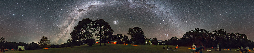 A 360&deg; horizon panorama of the grounds at the OzSky Star Party, April 2017, showing Orion setting at right of centre while Scorpius rises at left of centre, disproving the story that the two mortal enemies of mythology are never seen together in the sky at the same time. But from the southern hemisphere in austral autumn they are.<br /> <br /> Jupiter and the glow of Gegenschein are at far left. The Dark Emu is rising at left. The Large Magellanic Cloud is at centre. <br /> <br /> This is a stitch of 8 segments, with the Rokinon 14mm lens at f/2.5 for 25 seconds, in landscape orientation (so the view does not go up to the zenith) and Canon 6D at ISO 6400. Stitched with PTGui.