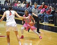 "Ole Miss' Danielle McCray (22) vs. Georgia's Anne Marie Armstrong (3) in women's basketball at the C.M. ""Tad"" Smith Coliseum in Oxford, Miss. on Sunday, February 24, 2013. Georgia won 73-54."