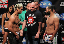 East Rutherford, NJ - May 04, 2012:  Josh Koscheck (left) and Johny Hendricks (right) during the weigh-ins for UFC on FOX 3 at the Izod Center in East Rutherford, New Jersey.  Ed Mulholland for ESPN.com