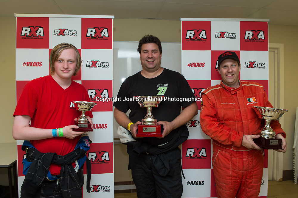 Super Final Podium, Will Orders, Troy Dowel, Michael Coyne - Rallycross Australia - Rnd 1 - February 26th 2017. MARULAN DIRT & TAR CIRCUITS, MARULAN, NSW