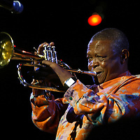 South African Jazz Artist Hugh Masekela performs at the Harold Washington Cultural Center in Chicago.