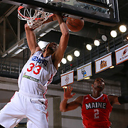 Philadelphia 76ers assignee, Center CHRISTIAN WOOD (33) get fouled by Maine Red Claws Guard COREY WALDEN (2) on the way to the basket in the second half of a NBA D-league regular season basketball game between the Delaware 87ers and the Maine Red Claws  Friday, Feb. 05, 2016 at The Bob Carpenter Sports Convocation Center in Newark, DEL.