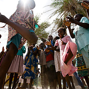 Girls play outside the Essaout primary school in the village of Essaout, Senegal, on Thursday June 14, 2007.