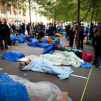 Protesters at the Occupy Wall Street movement in New York City's  Zuccotti Park in Lower Manhattan. ..Photo by Robert Caplin.