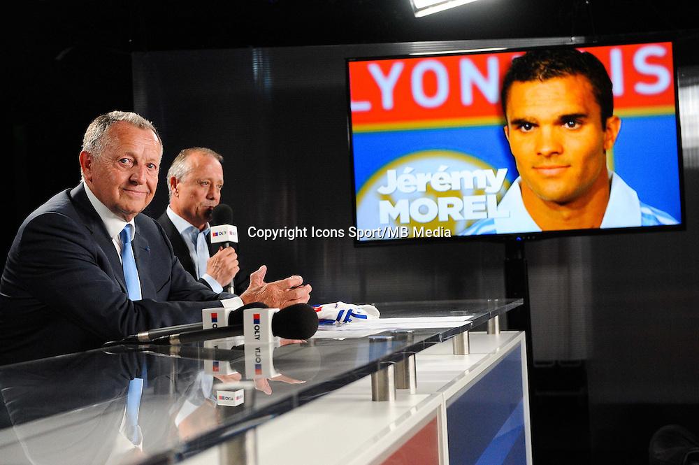 Jean Michel AULAS / Bernard LACOMBE - 01.06.2015 - Presentation du nouveau joueur de Lyon<br />Photo : Jean Paul Thomas / Icon Sport