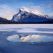 Mount Rundle and Vermilion Lakes in Winter, Banff National Park Alberta Canada