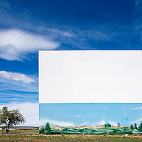 USA, New Mexico, Las Vegas, Painted mural on Fort Union Drive-in Theatre