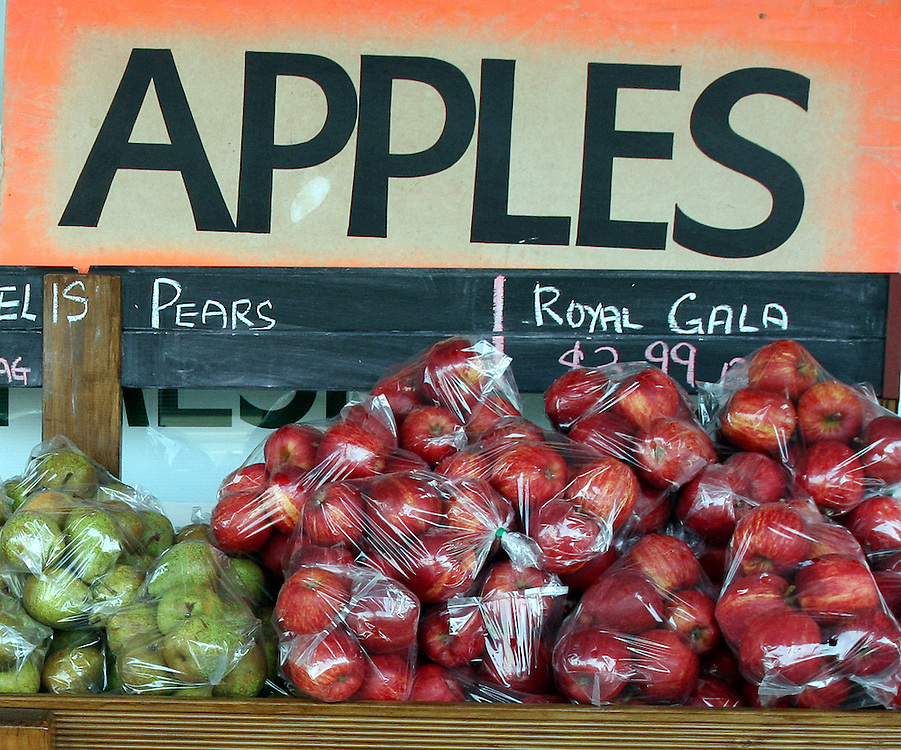 A fruit store, bagged apples on the main street of Balclutha , Balclutha, New Zealand, Saturday, April 18, 2009. Credit:SNPA / Dianne Manson.