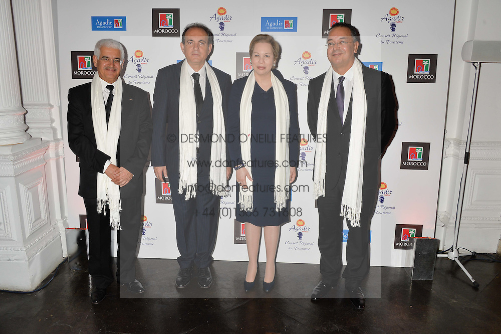 Left to right, SALAH EDDINE BENHAMMANE Prsident of the Tourism Committee of Agadir Souss Massa Draa, ABDERRAFIE ZOUITEN General Manager of The Moroccan National Tourist Office, HH PRINCESS LALLA JOUMALA OF MOROCCO and LAHCEN HADDAD the Moroccan Minister of Tourism  at White by Agadir hosted by the Moroccan National Tourist Office to celebrate the White City in Morocco in the presence of H.H.Princess Lalla Joumala, Ambassador of HM The King of Morocco held at Il Bottaccio, 9 Grosvenor Place, London on 4th November 2014.