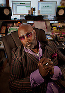 Grammy Award nominated producer Chris 'Big Dog' Davis photographed in his studio January 14, 2014. Davis produced the nominated R&B tune Quiet Fire by artist Maysa. He has also produced for Vanessa Williams, Brian McKnight and George Clinton. (Photo by Robert Falcetti)