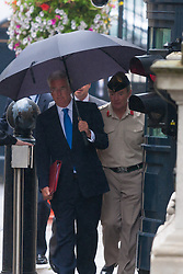 London, September 1st 2014.   Secretary of Defence Michael Fallon (Left) arrives at Downing Street with Chief of Defence Staff General Sir Nicholas Houghton, prior to Prime Minister David Cameron addressing Parliament on increased counter-terrorism measures. PAYMENT/CONTACT DETAILS: paul@pauldaveycreative.co.uk Te' +44 (0) 7966 016 296 or +44 (0) 208 969 6875
