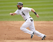 CHICAGO - APRIL 20:  Adam Eaton #1 of the Chicago White Sox runs the bases against the Los Angeles Angels of Anaheim on April 20, 2016 at U.S. Cellular Field in Chicago, Illinois.  The White Sox defeated the Angels 2-1.  (Photo by Ron Vesely)   Subject: Adam Eaton