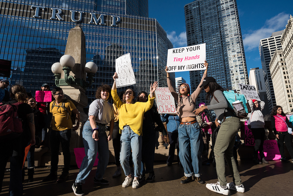 Participants in the Women's March on Chicago party in protest near Trump Tower after the rally in Grant Park on January 21, 2017.
