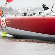 Départ pour Lanzarote de l'IMOCA de ALAN ROURA Super Bigou pour la préparation du Vendée-globe 2016.Plus jeune skipper engagé sur un vendée globe