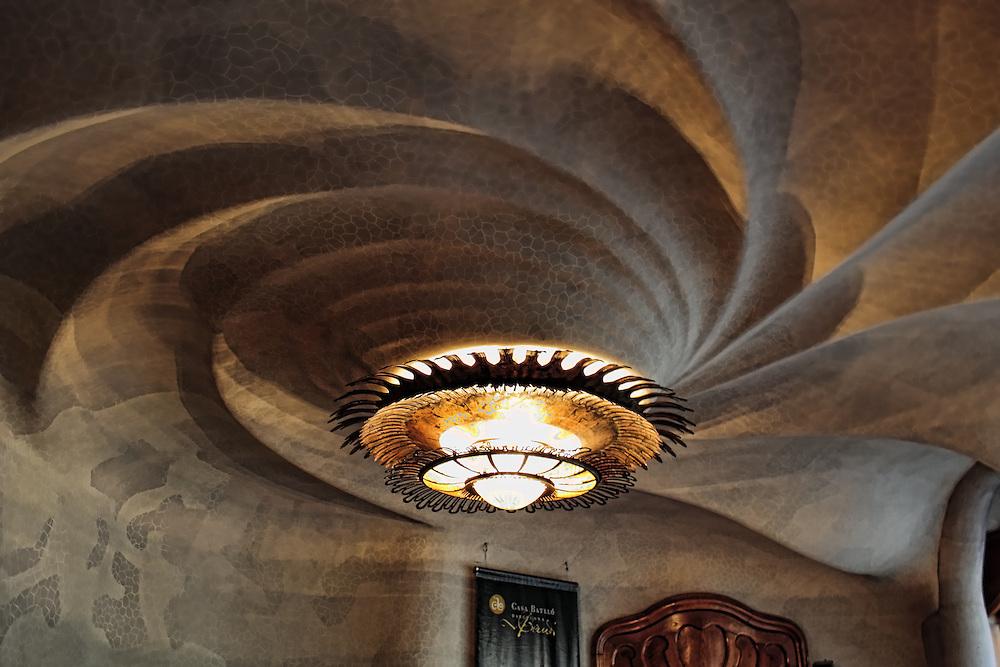 View of a light fixture in Casa Batllo, Barcelona.