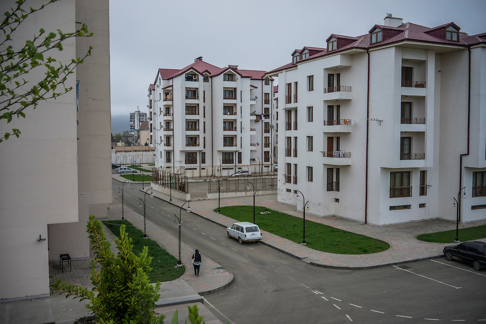 STEPANAKERT, NAGORNO-KARABAKH - APRIL 20: Recently constructed apartment buildings on April 20, 2015 in Stepanakert, Nagorno-Karabakh. Since signing a ceasefire in a war with Azerbaijan in 1994, Nagorno-Karabakh, officially part of Azerbaijan, has functioned as a self-declared independent republic and de facto part of Armenia, with hostilities along the line of contact between Nagorno-Karabakh and Azerbaijan occasionally flaring up and causing casualties. (Photo by Brendan Hoffman/Getty Images) *** Local Caption ***