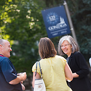Academic Vice President Patricia Killen welcomes parents to campus during Orientation weekend. <br />