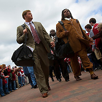 TUSCALOOSA, AL -- October, 24, 2009 -- University of Alabama offensive lineman Taylor Pharr, left, and defensive lineman Terrence Cody head into the stadium prior to the Crimson Tide's 12-10 victory over the University of Tennessee Volunteers at Bryant-Denny Stadium in Tuscaloosa, Ala., Saturday, Oct. 24, 2009.