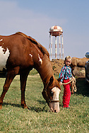 Young cowgirl at horse show in Oklahoma, <br /> MODEL RELEASED
