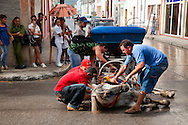 This horse has slipped on the wet concrete in Holguin, Cuba.
