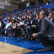 Westchester Knicks Head Coach MIKE MILLER watches the game in the first half of a NBA D-league regular season basketball game between the Delaware 87ers and the Westchester Knicks  Saturday Dec, 26, 2015 at The Bob Carpenter Sports Convocation Center in Newark, DEL