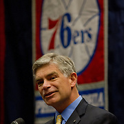 University of Delaware President DR. Patrick T. Harker addresses the media during a news conference to announce the creation of NBA D-League franchise the Delaware 87ers Saturday. April 27, 2013,  at The Bob Carpenter Center in Newark, Del..The Philadelphia 76ers new NBA D-League franchise will relocate to Delaware and commence play to this coming autumn for the 2013-14 NBA D-League season...(AP Photo/Saquan Stimpson)