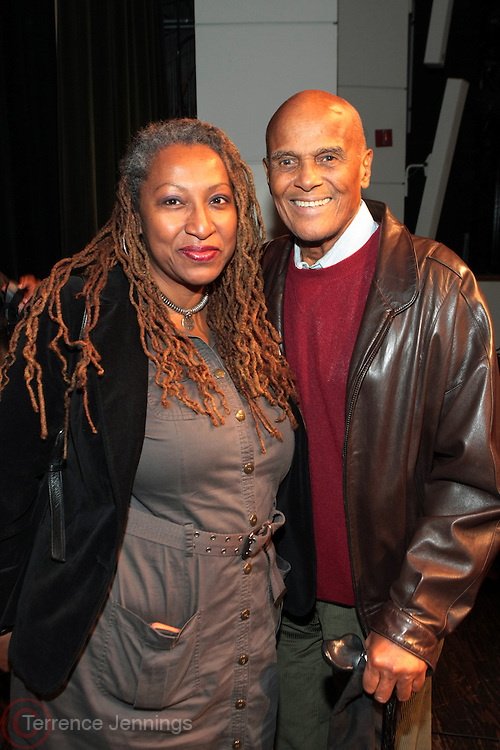 "October 20, 2012-New York, NY: (L-R) Producer Lisa Corte and Actor/Social Activist Harry Belafonte at From Beat Street to These Streets: Hip Hop Then and Now panel discussion and special screening of "" Beat Street"" co-hosted by the Schomburg Center, the Tribeca Youth Screening Series & Belafonte Enterprises and held at The Schomburg Center on October 20, 2012 in Harlem, New York City  (Terrence Jennings)"