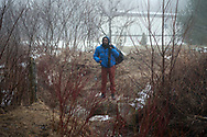 February 25, 2017 - Hemmingford, Quebec : Upon learning he will be arrested by RCMP officers, a refugee from Eritrea hesitates before crossing illegally into Canada.