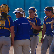 Hofstra University Manager Larissa Anderson speaks with her player in the top of sixth inning Saturday, April 16, 2016, at Delaware softball stadium in Newark, Delaware.