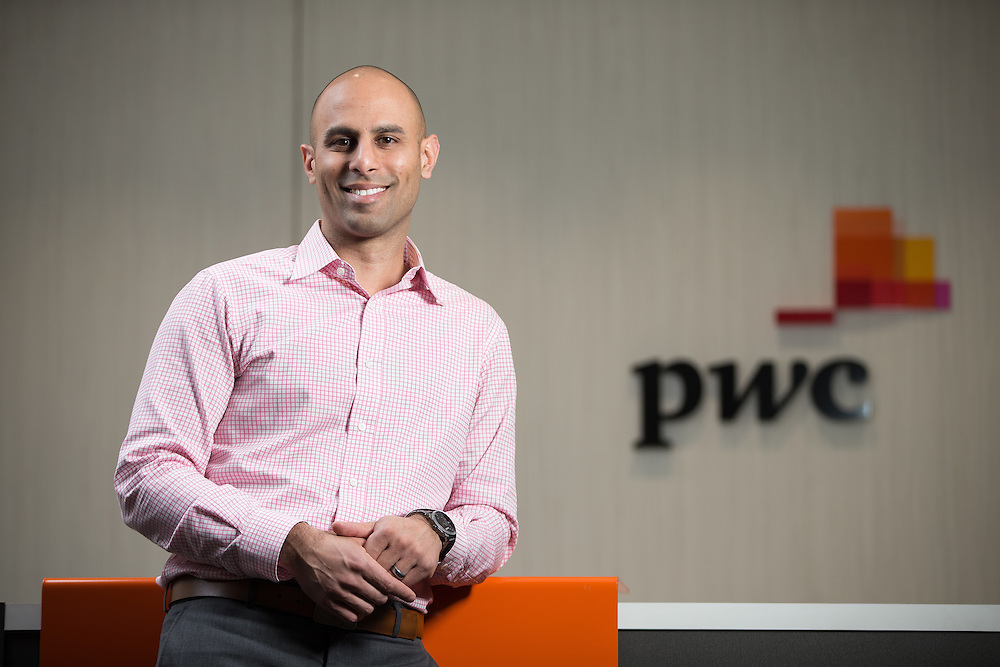 Western alumna Dipesh Parmar stands in the PWC offices in London, Ontario, Friday, February 5, 2016.<br /> Western University/ Geoff Robins