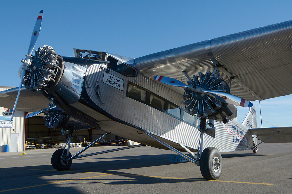 gbs040617d/RIO-WEST -- A 1928 Ford Tri-Motor waits for passengers at the Double Eagle II Airport on Thursday, April 6, 2017.  The aircraft owned by Liberty Aviation Museum of Port Clinton, Ohio is operated by the Experimental Aircraft Association.  (Greg Sorber/Albuquerque Journal)